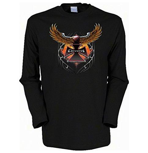 fliegender Adler Schwinge Biker Choppers Herren Langarmshirt Gr XXL in schwarz (Adler Herren-fliegender -)
