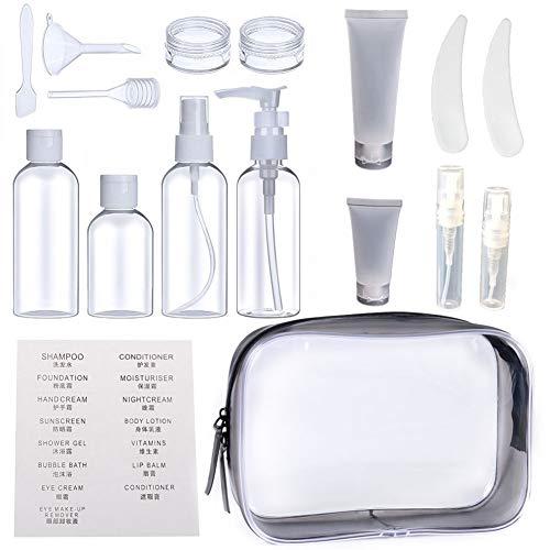 Reise Flaschen Set, Queta 16 Stück Reiseflasche mit Kosmetiktasche Travel Flasche Set, Trichter und Spatel für Flüssigkeiten Shampoo Conditioner Creme Kosmetik