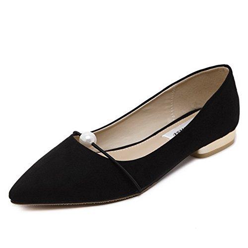 AalarDom Damen Ziehen Auf Ohne Absatz Gewebe Rein Flache Schuhe mit Juwelen Schwarz