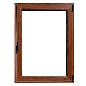 finestra in pvc Salamander 86x116 7cam noce sd Confezione da 1PZ
