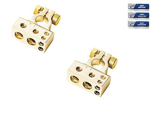 Batterieklemmen Set 1 x 35 mm² + 1 x 20 mm² + 2 x 10 mm² Plus&Minus Pol gold