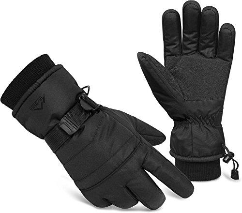 normani 3M Thinsulate Winterhandschuhe Extrem Warme und Wasserdichte Unisex Skihandschuhe Farbe Schwarz/Schwarz Größe M