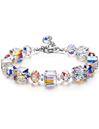 Susan Y A Little Romance Women Link Bracelet with Aurore Boreale Crystals from Swarovski 7''+2'' Extender, Elegant Jewellery Box Every Special Moment