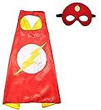 3-6 Jahre - Kostüm Set - Verkleidung - Karneval - Halloween - Super - Held - Rot - Maske - Umhang - Kind - Flash