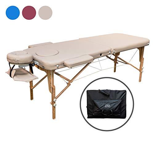 Zen Basic III Flat | Massage-Liege klappbar und höhenverstellbar | Voll-Holz | verstellbares Aluminium Kopfteil | mobiler Kosmetik-Tisch mit Tasche | Behandlungsbank TÜV zertifiziert (Créme/beige) -