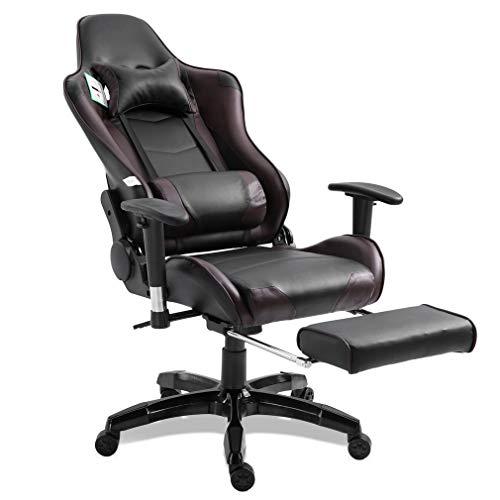 Blackpoolal XL Racing Bürostuhl Fernsehsessel Drehstuhl Gaming Stuhl mit fußstützen Höhenverstellung Massagesessel Relaxsessel Chefsessel Schreibtischstuhl Gamingstuhl bis 150kg (Braun) -