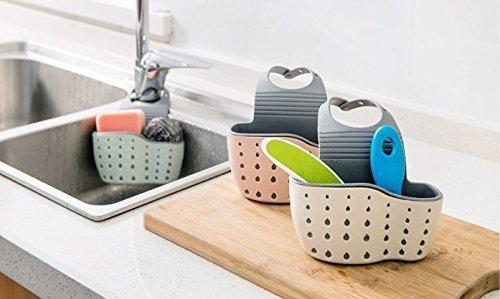 URGrace 3 Stücke Küche Badezimmer Hängen Abfluss Beutel Korb Lagerung Dicker Doppel Sink Pouch Kunststoff Ablassen Schwamm Halter Gadget Organizer Racks (blau, rosa, beige) (Und Wäscher Halter Schwamm)