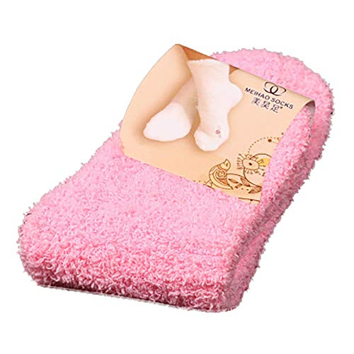 Chaussettes Femme Duffle Chaud, Socquettes Noel Velours De Corail Chaussettes Yoga AntidéRapante Mode Hiver Casual Pas Cher (Rose)