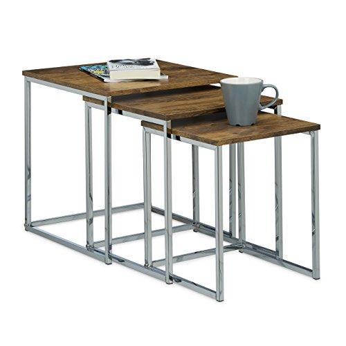 Relaxdays Table gigogne lot de 3 HxlxP: 42 x 40 x 40 cm table basse appoint plateau carré en bois avec pieds en métal salon bout de canapé, nature