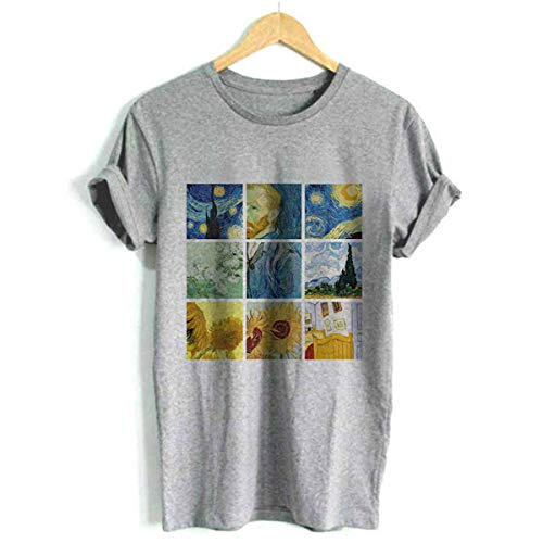 2019 Tumblr Van Gogh Art Print Women Tshirt Summer Short Sleeve O-Neck Harajuku Tee Shirt for Femme 4 Colors 5 Size Dorpship 1198-Gray S -