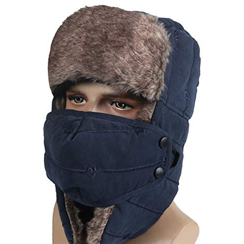 M MOACC Winter Trapper Hat for Men Women Warm Ushanka Aviator Russian  Windproof Hat with Mask 866735eb5170