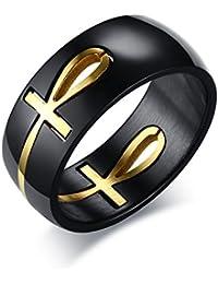 vnox Anillo de acero inoxidable Ankh Cross of Life anillo Christian Removable Anillo para hombres, Oro Negro
