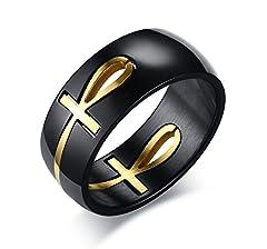 Idea Regalo - Vnox Anello in acciaio inossidabile Ankh Cross of Life Anello Christian Removable Anello per Uomini,Oro Nero