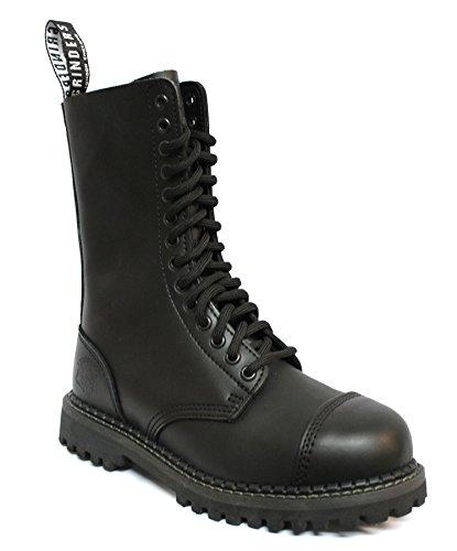 Bottines boots unisexe style militaire cuir véritable noir Punk Rock bout renforcé Herald