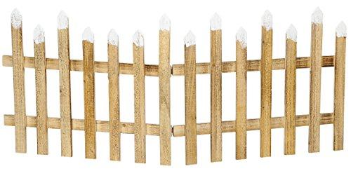 dekorativer Holz-Zaun Deko-Zaun Holz natur mit Schnee-Deko ca. 120 cm lang x 50 cm hoch