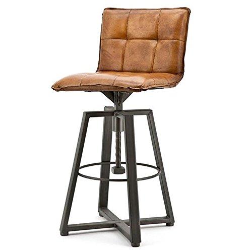 Barstuhl VERONA cognac Barhocker Bar Hocker Stuhl Bezug Leder höhenverstellbar -