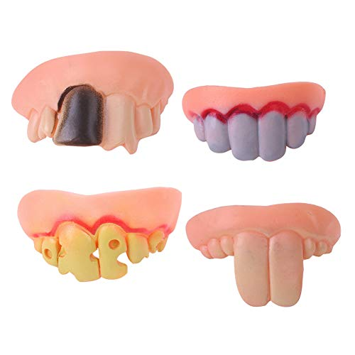 Ruby569y Aprilschertags-Kreuz-Spielzeug, lustiges Spielzeug, 4 Stück/Set Halloween, Fake Zähne, Schnallenzähne, Hosenträger für Cosplay, Party, Strich
