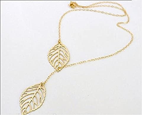 Buy any 2 & get 1 FREE! Unique Fashion Jewellery Gold Double Leaf Pendant Necklace Diamond Jewellery 2 Leaves Vintage Hot Fashion Trend Ladies Jewelry