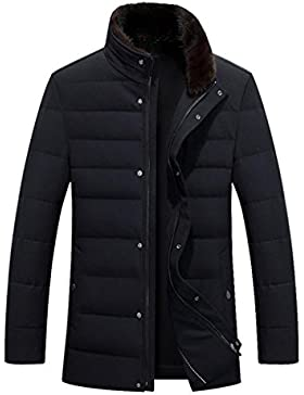 MHGAO Cuello largo y grueso de piel de visón por la chaqueta de la chaqueta de los hombres de , black , xxl