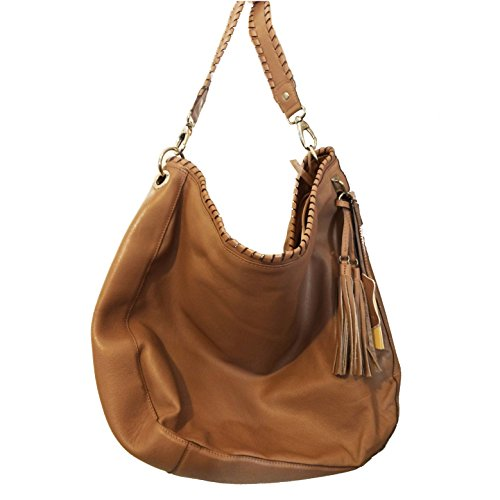 BACCINI Beuteltasche SIENNA - Schultertasche groß - Hobo Bag mit Fransen - echt Leder beige (Hobo Leder-camel)