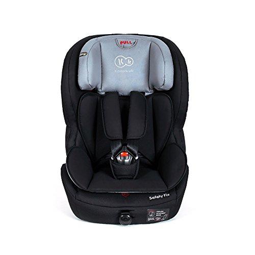 Kinderkraft Safetyfix Kinderautositz Autokindersitz Autositz mit Isofix 9-36 kg Gruppe 1 2 3 Schwarz