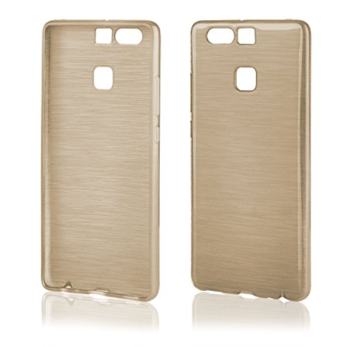 EGO Brushed Silikon Case (für Huawei P9, Schwarz Transparent) Handy Tasche Metallic Effect Cover Schutz Hülle Gold Transparent
