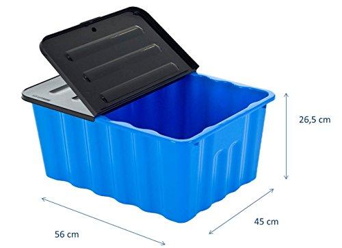 Kunststoffbox in Blau mit Klappdeckel in Anthrazit. Mit 48 Liter Füllvolumen. Maße BxTxH: 56 x 45 x 26,5 cm. (Truhe Box Zweck)
