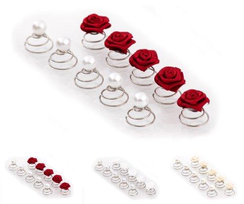 Lot C de 10 épingles en spirale - ornées de roses/perles - accessoire pour coiffure de mariée - rouge bordeaux