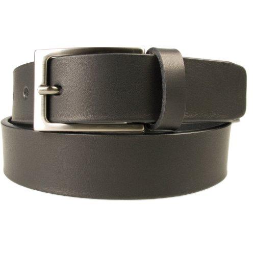 Belt Designs Taille 117-127 cm (XXL) - Noir - avec boucle de ceinture couleur Gun métal Ceinture en cuir de qualité pour HommeFabriqué au Royaume-Uni