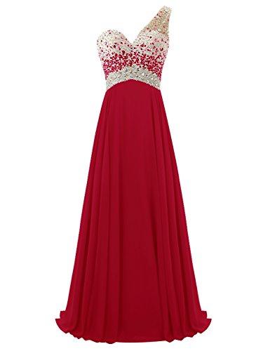 Dresstells, Robe de soirée Robe de cérémonie Robe de bal longue emperlée pailletée forme empire épaule asymétrique dos nu Rouge Foncé