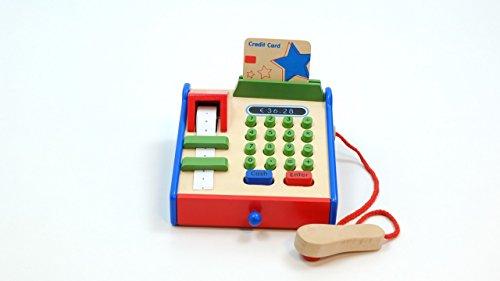 Spielkasse aus Holz mit Scanner, Bonrolle.. / Material: Holz / Maße: L: 18 x B: 18 x H: 9,5 cm / für Kinder ab 3 - Abdeckung Registrieren