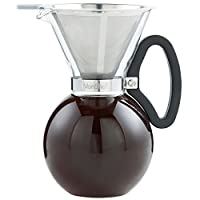 VonShef 1L Glass Pour Over Coffee Maker with Permanent Stainless Steel Filter