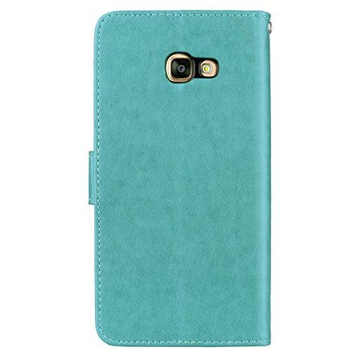 Coque Samsung A5 (2017) Anfire Fleur Motif Peint Mode Coque PU Cuir pour Galaxy A5 (2017) Etui Case Protection Portefeuille Rabat Étui Coque Housse pour Samsung Galaxy A5 (2017) SM - A520 (5.2 pouces) Bleu marine