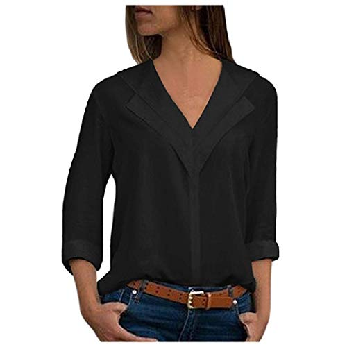 CuteRose Women V-Neck Fashional Multi Color Long-Sleeve Chiffon Shirt Black XL - Tie-front Woven Shirt