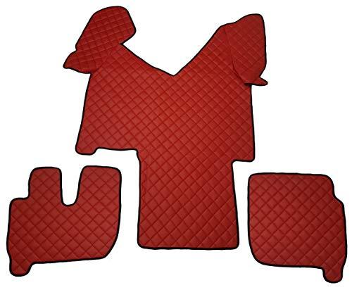 Tappeti per auto Set Completo di Tappetini in Moquette su Misura Neri con Bordo Rosso e Ricamo a Filo Rosso