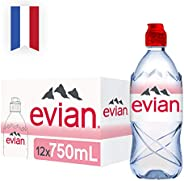 evian Natural Mineral Water 750ml Sportcap, Case of 12