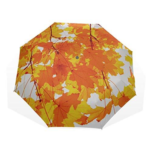 Reiseregenschirm Single Bright Red Dried Ahornblatt Anti Uv Compact 3-Fach Kunst Leichte Klappschirme (Außendruck) Winddicht Regen Sonnenschutzschirme Für Frauen Mädchen Kinder - Harmonie Blättern