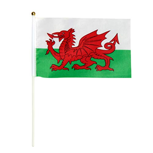 Wales Hand Wehende Fahnen Welsh National Country Flag Mini Polyester Schreibtisch Kleine Tischfahnen 14x21 cm ()