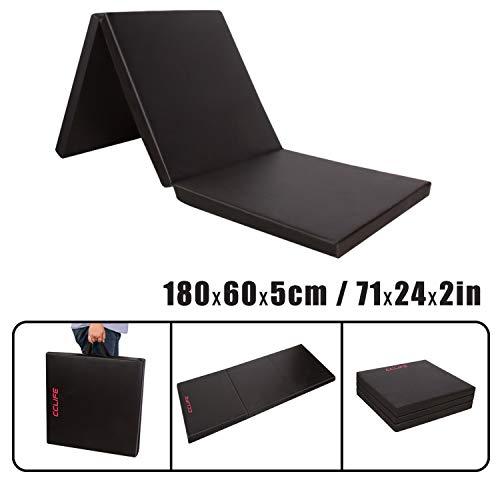 CCLIFE 180x60x5cm Weichbodenmatte Turnmatte Klappbar Gymnastikmatte Farbauswahl, Farbe:Schwarz