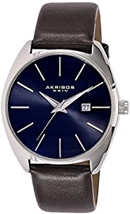 Akribos Xxiv Casual Watch Analog Display For Men, Leather Strap