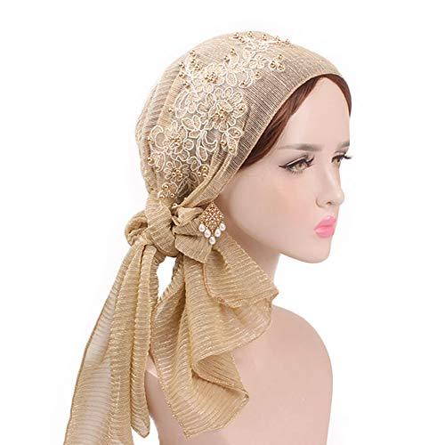 Moda pizzo turbante,tukistore brillante perlina fascia della cuffia delle donne del copricapo del cappuccio turbante scarfs cancro copricapo femminile turbante