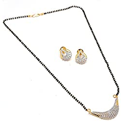 Jewar Mandi Mangalsutra Pendant with earrings combo One Gram Gold Plated Ad Gemstones Black Crystal Moti Jewelry 6209 mangalsutra for women