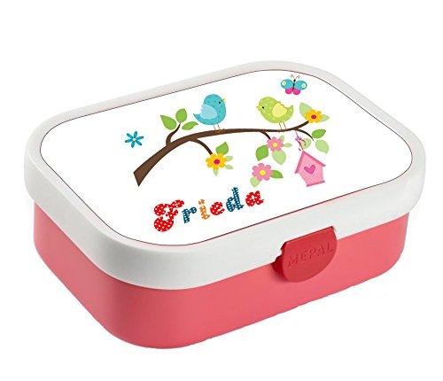 wolga-kreativ Brotdose Lunchbox Bento Box Kinder Vogel Vogelfamilie mit Namen Rosti Mepal Obsteinsatz für Mädchen Jungen personalisiert Brotbüchse Brotdosen Kindergarten Schule Schultüte füllen