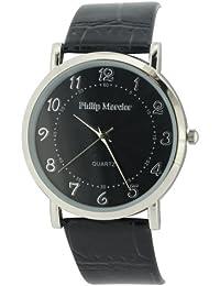 Philip Mercier SML46/C - Reloj analógico de caballero de cuarzo con correa de piel negra