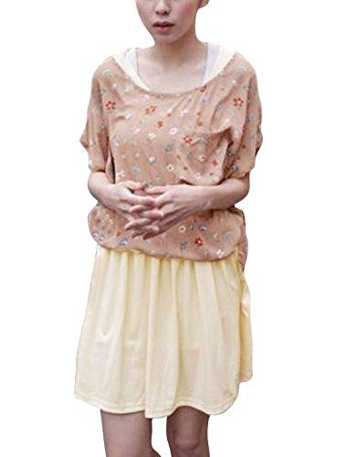 Femmes Sans Manches Tank Robe & Manche Chauve-souris Floral Impressions Pull Rose Pâle