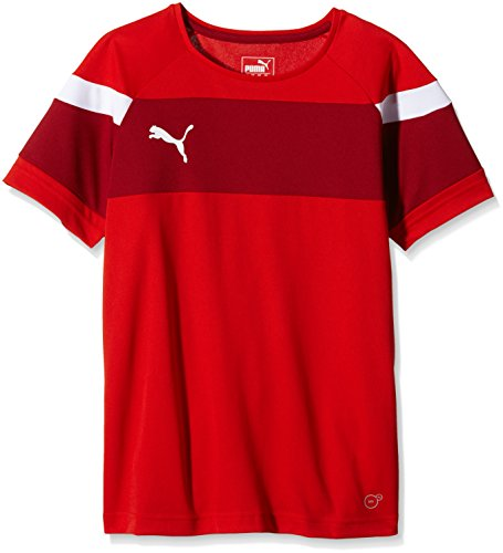 PUMA Kinder T-shirt Spirit II Training Jersey, red-white, 128, 654655 01 (Jersey Fußball Training Puma)