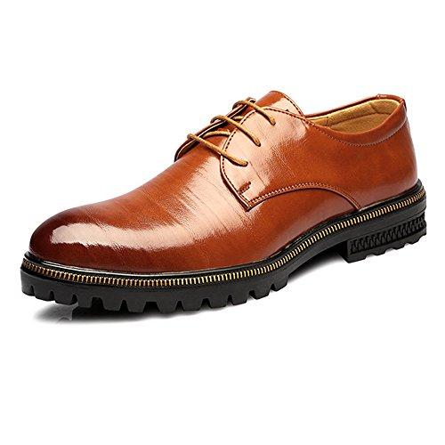 XIANGBAO-Persönlichkeitsfall Mode Herren Low Top Business Schuhe Matte Echtes Leder Lace Up Atmungsaktiv Gefütterte Außensohle Oxfords (Color : Braun, Größe : 24.5CM) -