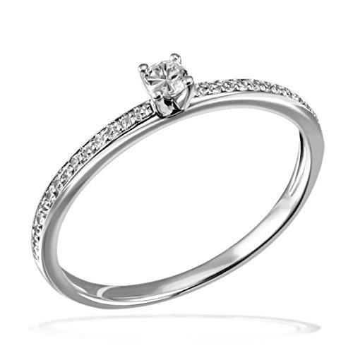 Goldmaid Damen-Ring Verlobung 585 Weißgold Diamant (0.18 ct) weiß Brillantschliff Gr. 54 (17.2)-Pa R7437WG54 Verlobungsring  Diamantring