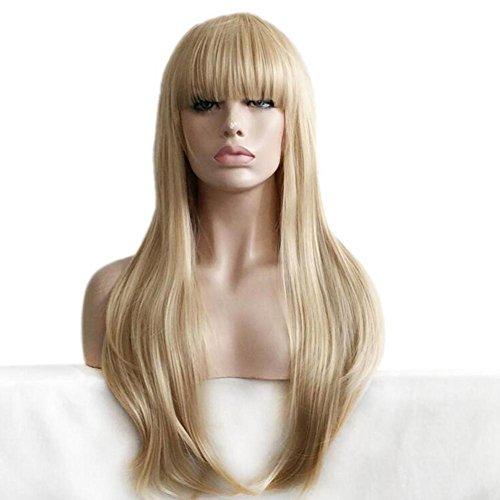 OOARGE Perücke Langes Haar Gold Farbe Gerade Synthetische Perücken Für Frauen , Gold , (Erwachsene Für Kostüme Themen Wasser)