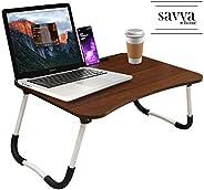 Savya home® Multifunction Wooden Foldable Bed Table- LA (Standard, Walnut)
